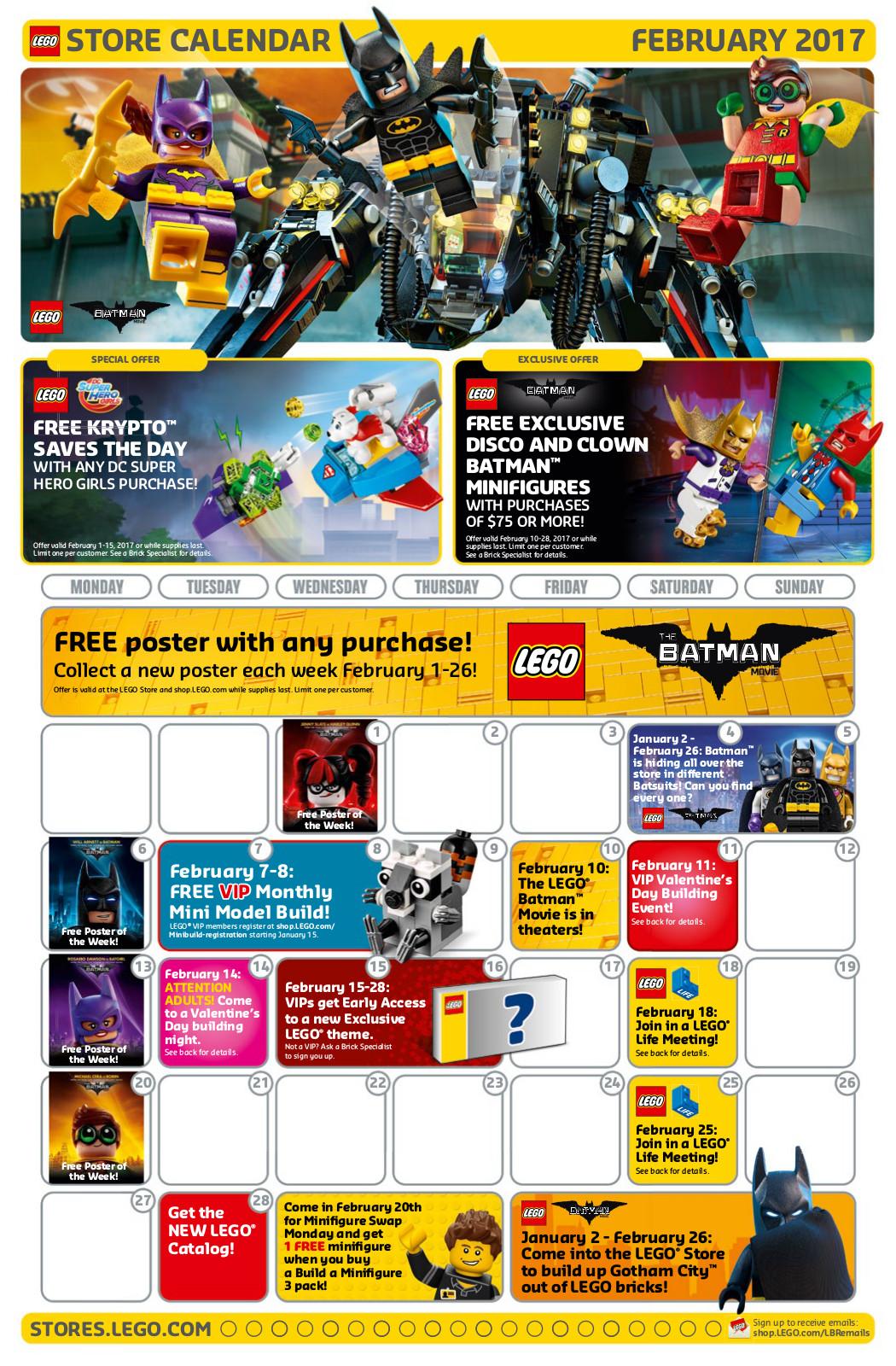 February Calendar for The LEGO Store | Brick Brains