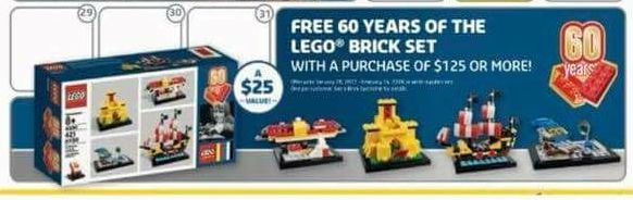 60 years of the LEGO Brick set FREE in January